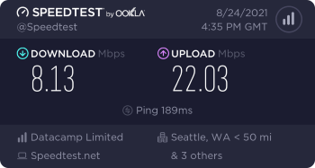 Speedtest.net result. Ping/Download/Upload: 189/8.13/22.03