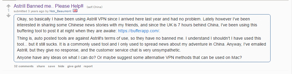 Astrill user banned complaining on Reddit about account getting banned.