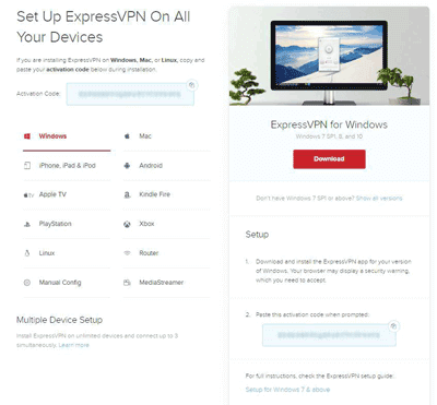 ExpressVPN download apps page
