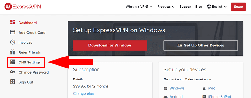 Screenshot of ExpressVPN website dashboard showing where to click for DNS settings.