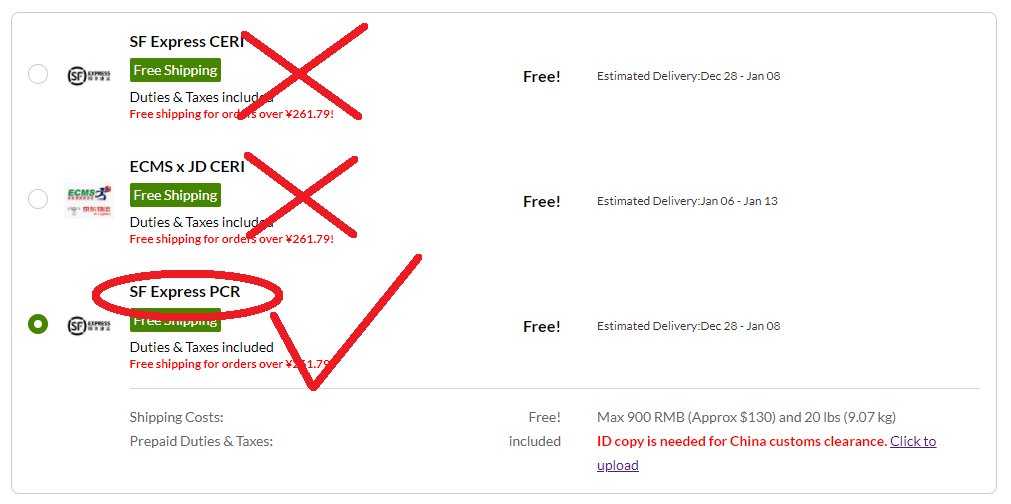 iHerb shipping options - SF Express CERI, ECMS x JD CERI, and SF Express PCR