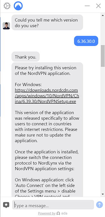 NordVPN support agent giving a link to a newer version of the test app.