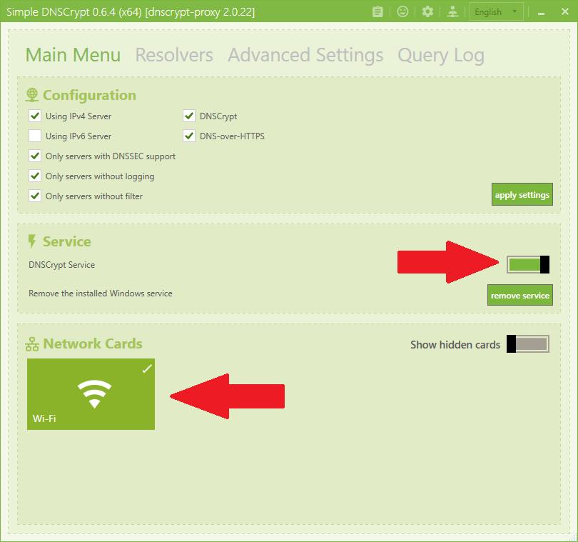 Simple DNSCrypt settings