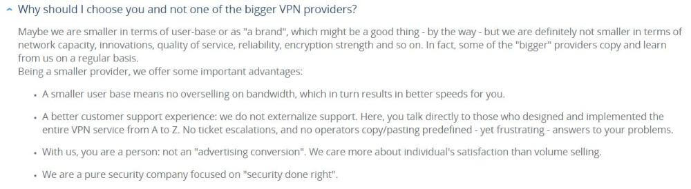 Question from VPN.ac FAQ page: Why should I choose you and not one of the bigger VPN providers?