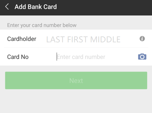 Enter Card Number